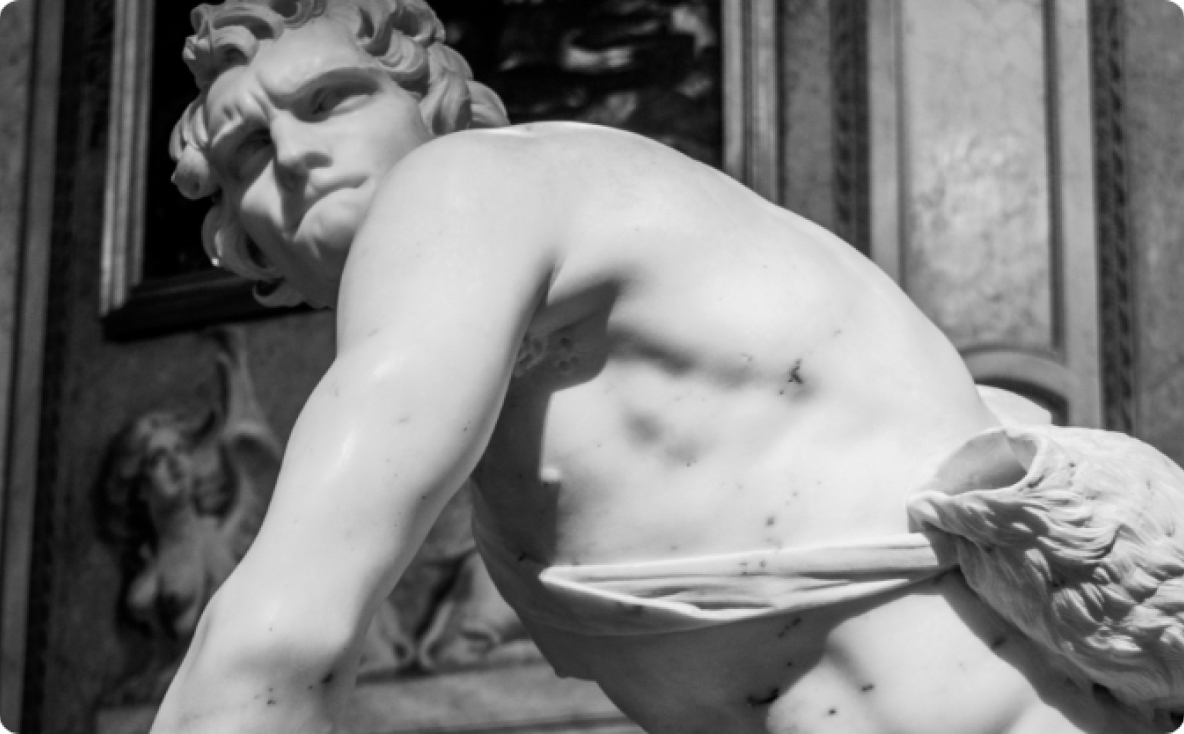 Marble statue of David in coliseum