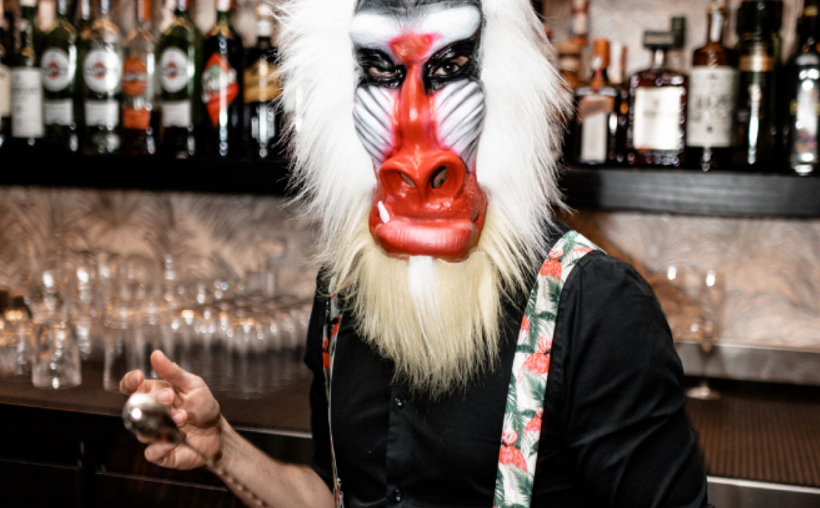 Bar staff wearing hairy baboon mask in the back bar making a cocktail