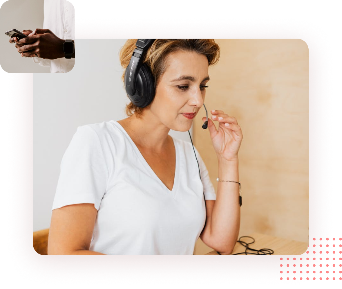 Women talking to customer through headset with person holding phone in top left corner
